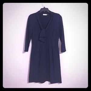 : Calvin Klein : 3/4 Sleeve Midi Navy Blue Dress